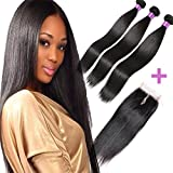 FASHION QUEEN Hair Straight Weave 7A Brazilian Virgin Hair 3 Bundles with Lace Closure Free Part Mixed Size Length Perfect for Natural Color Hair Weft(18 20 22+14) offers
