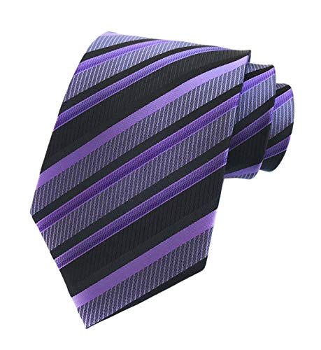 (Secdtie Men's Classic Stripe Jacquard Woven Silk Tie Formal Party Suit Necktie (One Size, Black purple))