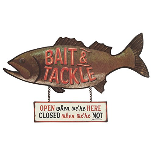 Open Road Brands Bait & Tackle Rustic Embossed Metal Sign