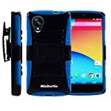 MINITURTLE, Rugged Hybrid Dual Layer Armor Phone Case Cover with Built in Kickstand, Holster Belt Clip, and Screen Protector for Android Smartphone LG Google Nexus 5 (Black / Blue)