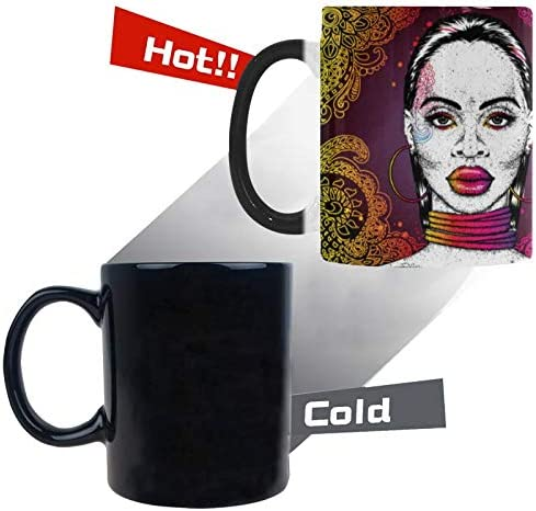 InterestPrint Fashion Beautiful Black Woman African Girl in Ornaments Rings Color Changing Coffee Mug Morphing Heat Sensitive Tea Cup Funny Gift for Women Men Kids Mom Dad Friends, 11 Ounce