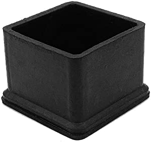 Flyshop 8Pcs Chair Leg Caps Feet Pads Non-Slip Rubber Floor Protectors Square Furniture Table Covers (1-1/2 Inches, Black)