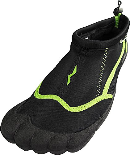 Norty - Ladies Skeletoe Aqua Water Shoes for Pool Beach, Surf, Snorkeling, Exercise Slip on Sock, Black, Lime 38863-9B(M)US