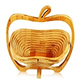 Cade Apple Shaped Bamboo Folding Basket- Collapsible Fruit Stores Flat