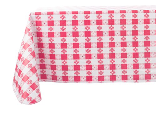Yourtablecloth Checkered Vinyl Tablecloth with Flannel Backing for Restaurants, Picnics, Bistros, Indoor and Outdoor Dining (Red and White, 52X90 Rectangle/Oblong)