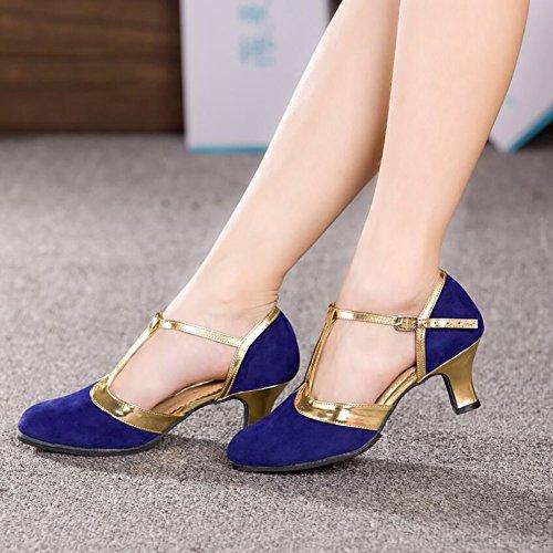 Schuhe Cuban Tanzschuhe Wildleder Farbe Fersenaht Ballsaal Moderne E Schuhe Evening Party Heel Lace XUE Damen 39 Größe qxBC8vwCE