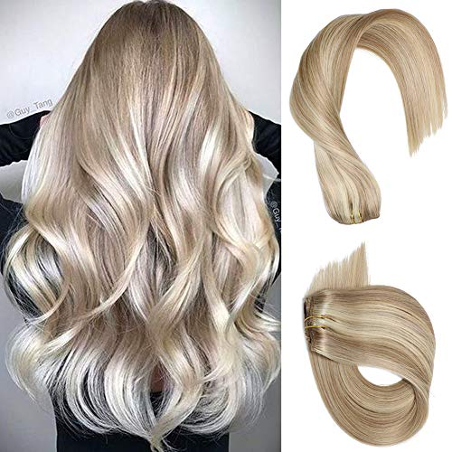Clip in Hair Extensions Real Human Hair Beige with Blonde Highlights 7 pieces 70 Gram 15 inch Silky Straight Double Weft Remy Extensions Clip on for Fine Hair Full Head for Women -