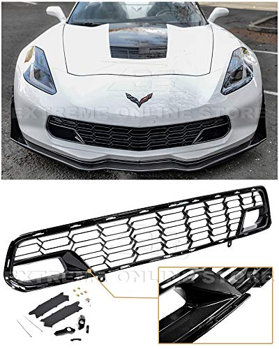 - Extreme Online Store for 2014-2019 Chevrolet Corvette C7 Models with Front Camera | GM Factory Z06 Style Painted Carbon Flash Metallic Front Bumper Lower Grille Cover