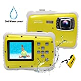Waterproof Digital Camera for Kids,12MP HD 3M Digital Underwater Camera with 2.0 Inch LCD Display, 8X Digital Zoom, Flash and Mic for Boys Girls Gift(Yellow)