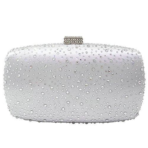 (Diamond Women Evening Purse Minaudiere Clutch Bag (Silver))