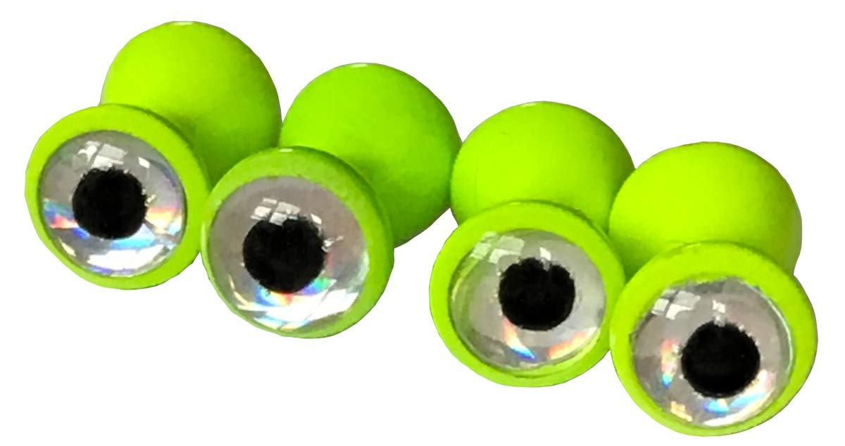 Brule 3-D Dumbbell Eyes (LimeSilver, M) by Brule Outdoors