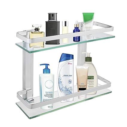 Amazon.com: 2-Tier Bathroom Glass Shelf Shower Organizer Storage ...
