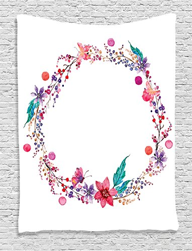 Ambesonne Watercolor Flower Decor Collection, Flower Wreath with Wildflowers Leaves and Butterfly Image Print, Bedroom Living Kids Girl Room Dorm Accessories Wall Hanging Tapestry, White Pink Blue (Watercolor Leaves)