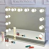 Chende Frameless Hollywood Tabletops Lighted Makeup Vanity Mirror with Dimmer Christmas Gift, Illuminate Vanity Table Light Mirror, Free LED Bulbs (8065, Frameless)