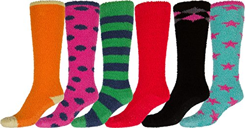 Sakkas 16803-pack2 Womens Super Soft Anti-Slip Fuzzy Knee High Socks Value Assorted 6-Pack (Grip Socks Knee High)