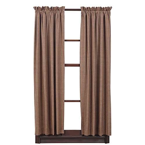 Plaid Short Panel Cotton Curtain in Red Tan and Navy Set 36 x 63 Inches For Sale