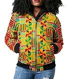 BabyYoung Womens Fashion Sexy Print African Dashiki Zipper Outwear/Overcoat Bomber Jacket Pattern7 L