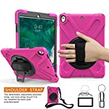 BRAECNstock iPad Pro 10.5 Case, Three Layer Heavy Duty Soft Silicone Hard Bumper Kickstand Shockproof Protective Case [Shoulder Strap] [Hand Strap] for Apple ipad 10.5 pro case (A1701/A1709) Rose Red