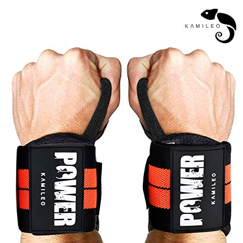 (Kamileo Lifting Straps, Wrist Support, Weight Lifting Wraps with Thumb Loops for Men & Women, Weight Lifting, Xfit, Powerlifting, Strength Training)