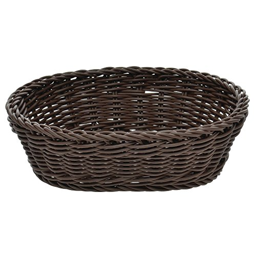 - Wicker Bread Basket Dark Brown Oval - 10-1/8 L x 7-7/8 W x 3-1/8 H