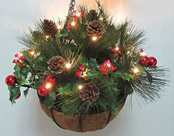 wonderful faux artificial 34cm christmas pine and berry hanging basket decorations planters