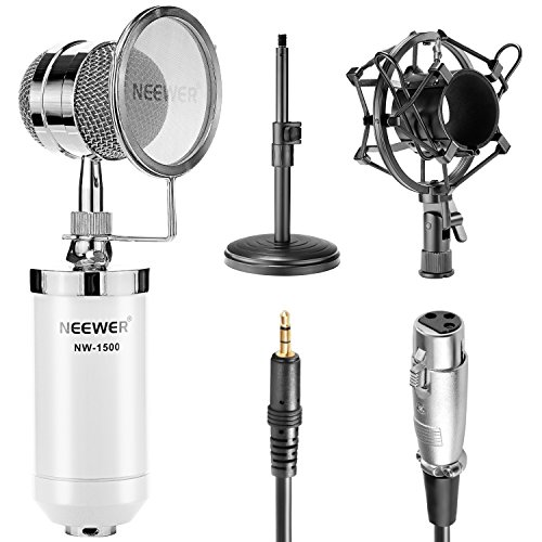 - Neewer White NW-1500 Desktop Broadcast & Recording Condenser Microphone with 3.5mm Male to XLR Female Cable, Adjustable Iron Desktop Mic Stand, Metal Shock Mount and Build-in Pop Filter