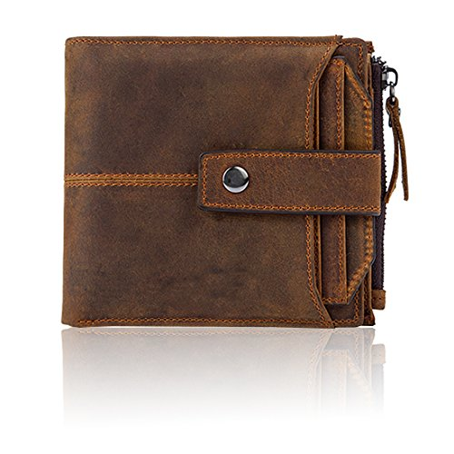 Classic Leather Billfold - Fezhiomu Original Classic RFID Men's Bifold Genuine Leather Wallet and Purse Credit Card Holder Case with Gift Box