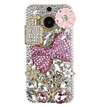 KAKA(TM) HTC case,HTC M9 Plus Case Creative Design Clear Case Bling Glitter with Rhinestone Bowknot Swans Crystal Flowers