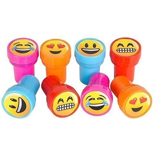 Emoji Smiley Stamps Birthday Party Supplies Loot Bag Accessories 48 Pieces per Unit