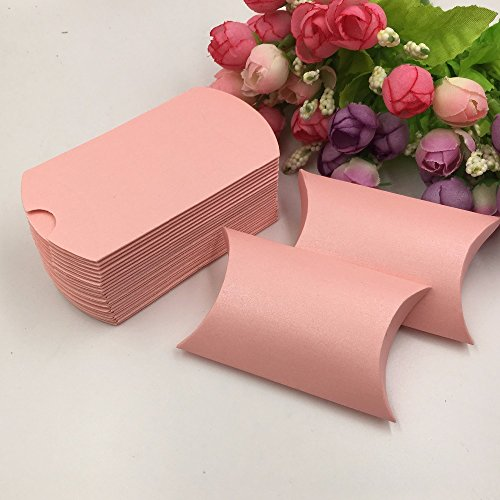 Saasiiyo 50 Pieces/lot pink paper boxes blank candy box pillow box wedding DIY gift boxes small storage box for jewelry accessory/Cosmetics