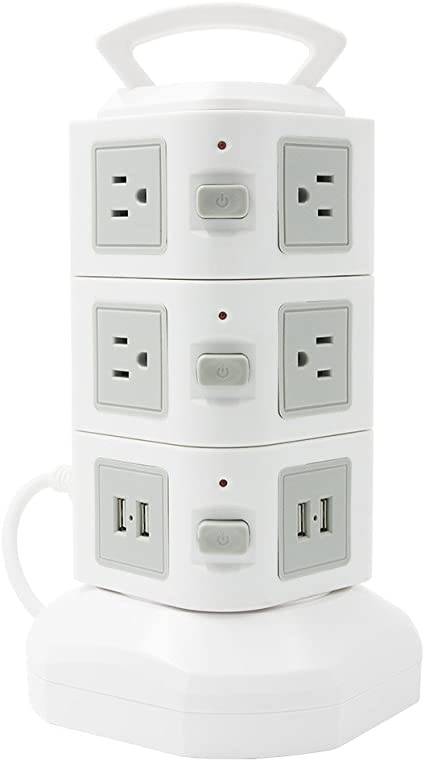 Tower Surge Protector Power Strip Socket outlet 8 AC Outlets and 6 ports USB ETL