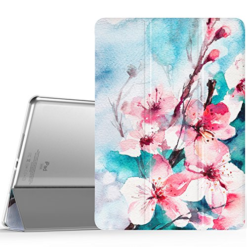 MoKo Case Fit iPad Air - Slim Lightweight Smart Shell Stand Cover with Translucent Frosted Back Protector Fit Apple iPad Air 9.7 Tablet, Peach Blossom (with Auto Wake/Sleep, Not fit iPad Air 2)