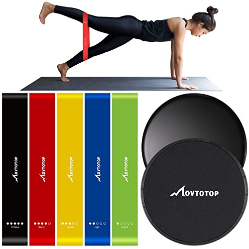 MOVTOTOP Resistance Bands and Core sliders, Set of 5 Professional Exercise Loop Bands with 2 Double-sided Gliding Discs, Lightweight Workout Equipment for Fitness
