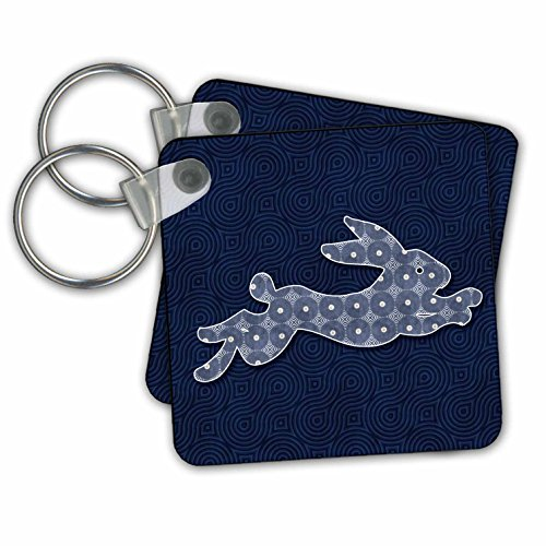 Doreen Erhardt Wildlife - Running Jackrabbit Woodland Theme Blue and White Geometric Patterns - Key Chains - set of 2 Key Chains (kc_264322_1) (Keychain Rabbit Jack)