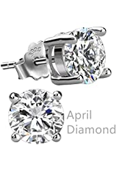 Freeman Jewels Sterling Silver Round Cubic Zirconia Diamond Birthstone Stud Earrings for Women
