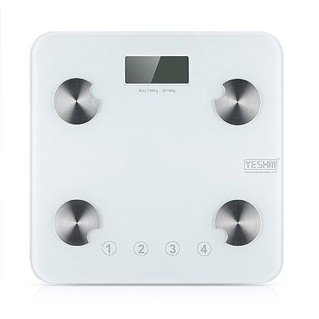 Yeshm YHF1431 - Bascula Digital de Baño con Precisión (Pantalla LCD, Medicion de Grasa