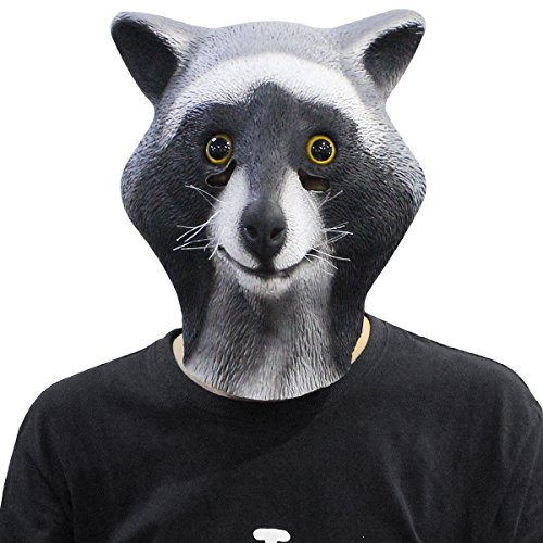 [Novelty Latex Rubber Cool Raccoon Head Mask Halloween Party Costume Decorations] (Easy Scary Costumes)