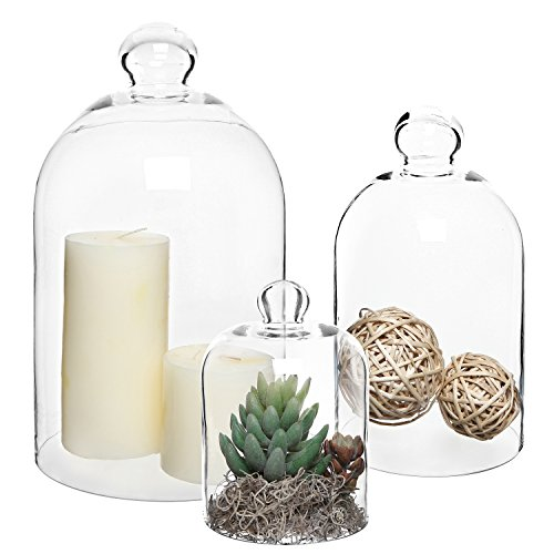 MyGift Set of 3 Decorative Clear Glass Apothecary Cloche Bell Jars/Centerpiece Dome Display