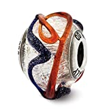 ICE CARATS 925 Sterling Silver Charm For Bracelet Italian Blue/red Textured Glass Bead Glas Murano Fine Jewelry Ideal Gifts For Women Gift Set From Heart