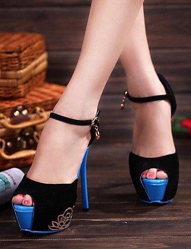 LFNLYX Zapatos de mujer - Tacón Stiletto - Tacones / Punta Abierta - Sandalias - Casual - Ante Sintético - Negro / Azul / Rojo Blue