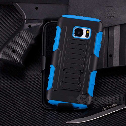 Galaxy S7 Case, Cocomii Robot Armor NEW [Heavy Duty] Premium Belt Clip Holster Kickstand Shockproof Hard Bumper Shell [Military Defender] Full Body Dual Layer Rugged Cover Samsung (Blue)