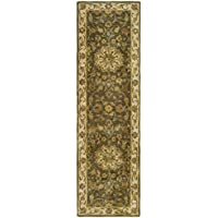 Safavieh Heritage Collection HG954A Handcrafted Traditional Oriental Green and Taupe Wool Runner (23 x 6)
