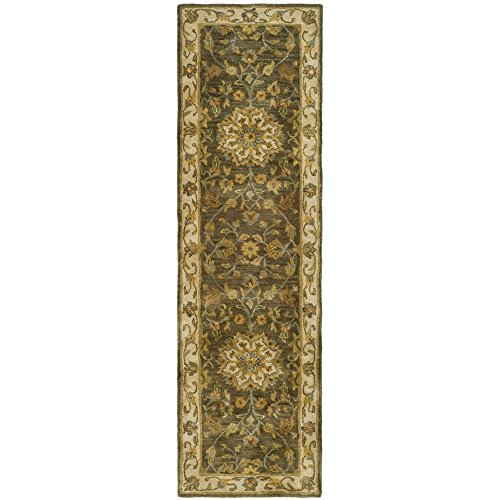 Safavieh Heritage Collection HG954A Handcrafted Traditional Oriental Green and Taupe Wool Runner (2'3