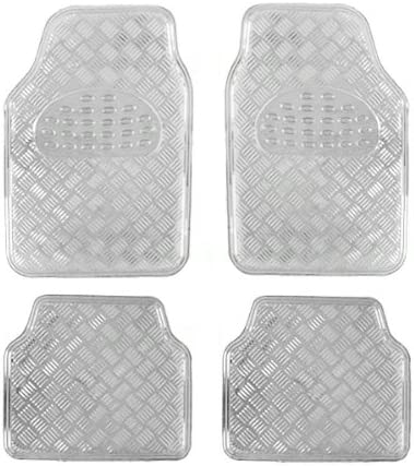 A Set of 4 Universal Fit Plastic Floor Mats with Metallic Finish – Chrome