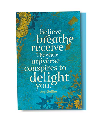 Tree-Free Greetings EcoNotes 12-Count Believe Breathe Receive Blank Notecard Set With Envelopes, All Occasion, Inspirational (FS56961)