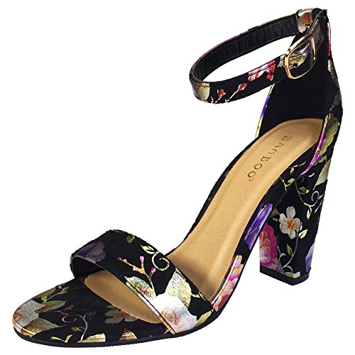 Black Fabric Heels - BAMBOO Women's Single Band Chunky Heel Sandal with Ankle Strap, Black Printed Fabric, 6.0 B US