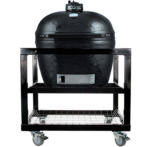 Primo Oval JR 200 Ceramic Smoker Grill On Cart without Side Tables by Primo