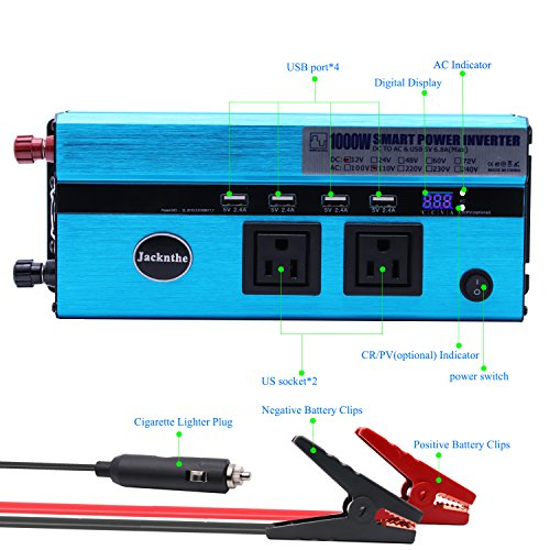 1000W Car Power Inverter DC 12V to AC 110V Converter with 2 Cigarette Lighter Sockets and Digital Display 2 AC Outlets and 4 USB Charging ports for Laptops, Tablets and other Electronics Devices by Jacknthe (Image #4)