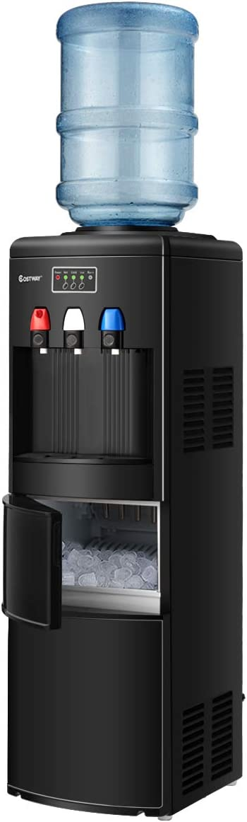 COSTWAY 2-in-1 Water Cooler Dispenser with Built-in Ice Maker, Freestanding Hot Cold Top Loading Water Dispenser, 27LBS/24H Ice Maker Machine with Child Safety Lock (Black)