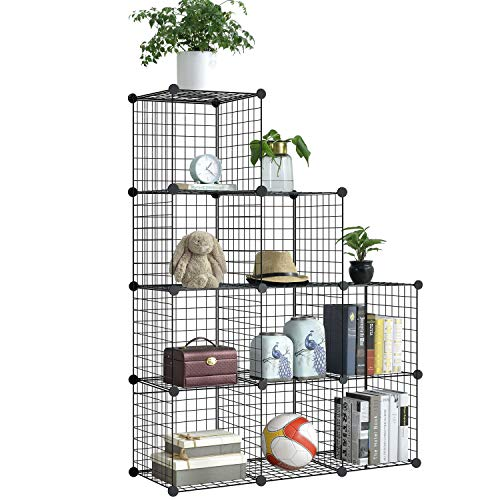 BRIAN & DANY Metal Wire Storage Cubes, DIY 9-Cube Closet Cabinet and Modular Shelving Grids, Wire Mesh Shelves and Rack, Black ()